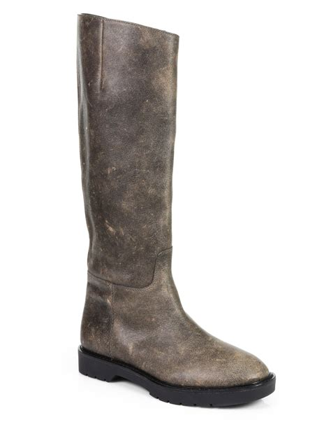 wang distressed leather knee high boots