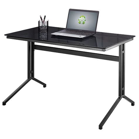 samara glass computer desk in black with grey metal