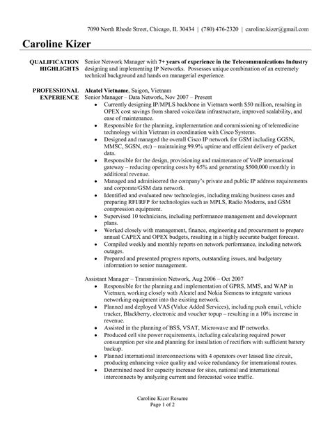 Senior manager resume template template