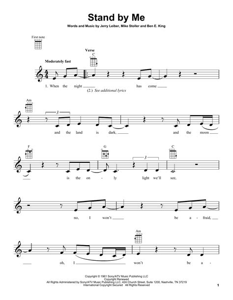 standoff music stand by me sheet music by ben e king ukulele 152196