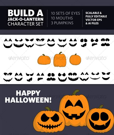 make your own jack o lantern printable build a jack o lantern character set graphicriver
