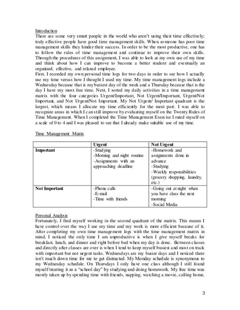 time management report sle time management report