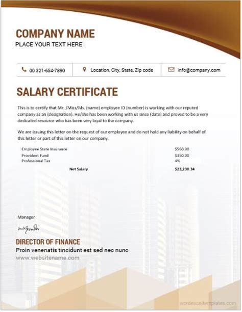 salary certificate templates  ms word word