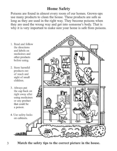 Home Safety Worksheets For by Activity Sheet Home Safety Northern New Poison