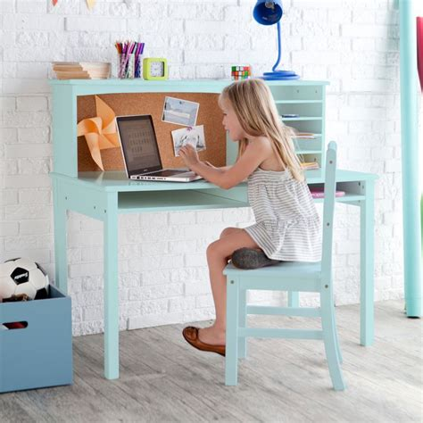 guidecraft media desk chair set teal www