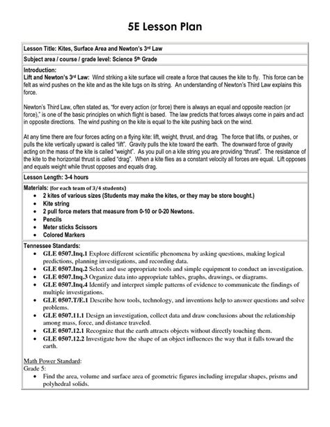 5e learning cycle lesson plan template 25 best ideas about lesson plan sle on pre