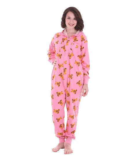 onesie for adults onesie teddy print on pink funzee