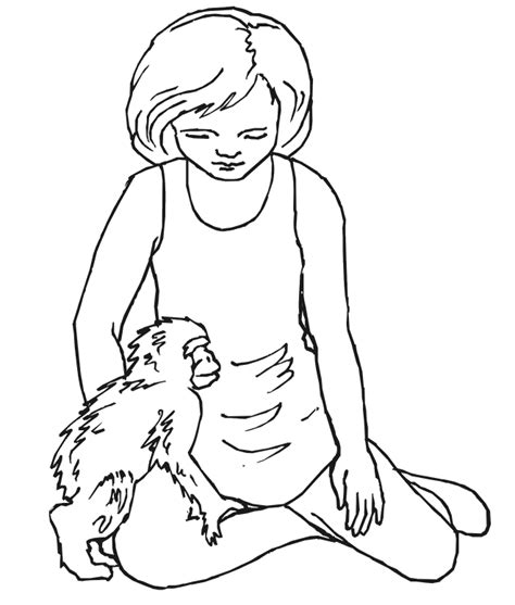 girl monkey coloring page monkey coloring page girl with little coloring home