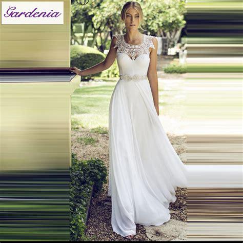 Summer Garden Wedding Dresses - modest white lace beach bridal gown beaded appliques vestido de noiva crystal belt chiffon