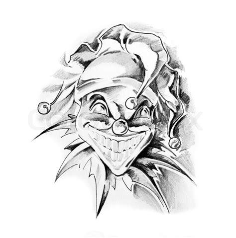 skull joker tattoo vorlagen skizze der tattoo kunst clown joker stock foto