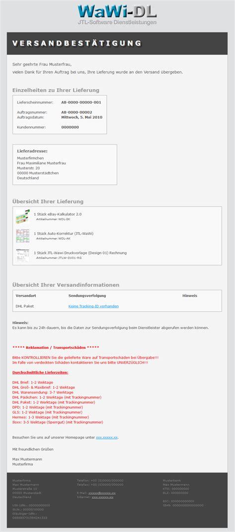 css vorlage brief jtl wawi email vorlage html englisch design 01 versandbest 228 tigung wawi dl 10 00