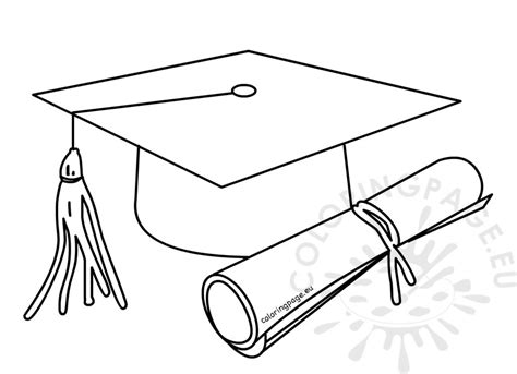 outlined graduate cap with diploma coloring page