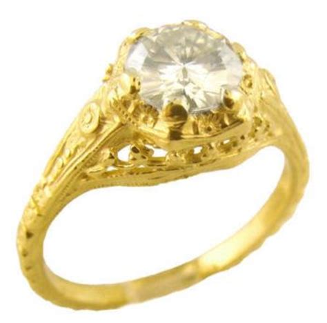 14k yellow gold vintage style filigree 85ct moissanite