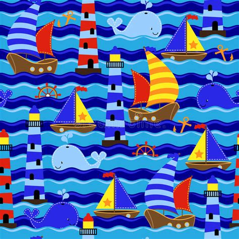dream wallpaper nautical wallpaper seamless tileable nautical themed vector background or