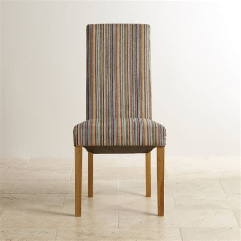 striped dining chairs scroll back dining chair in striped multicoloured fabric