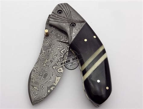 Handmade Pocket Knife - custom handmade damascus steel knife best pocket knife