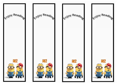 templates bookmarks printable free 7 best images of minion bookmarks printable despicable