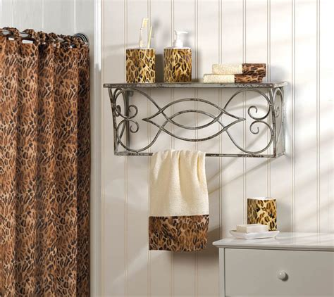 Bathroom Ensembles Shower Curtains bath ensemble leopard print shower curtain towels holders tumbler bath accessory