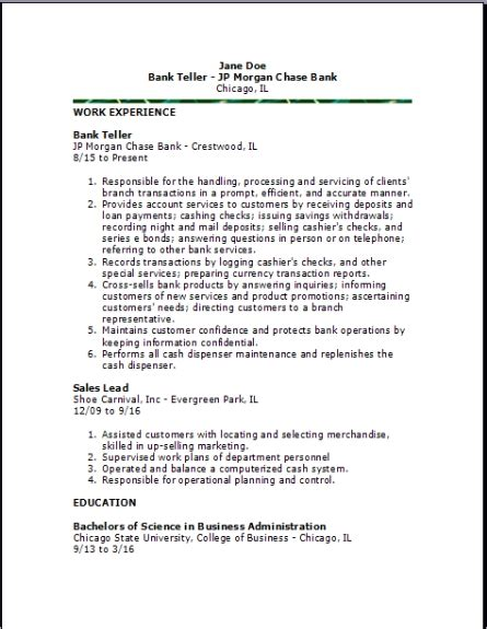 sample resume teller jobsssistant head objectives bank with no