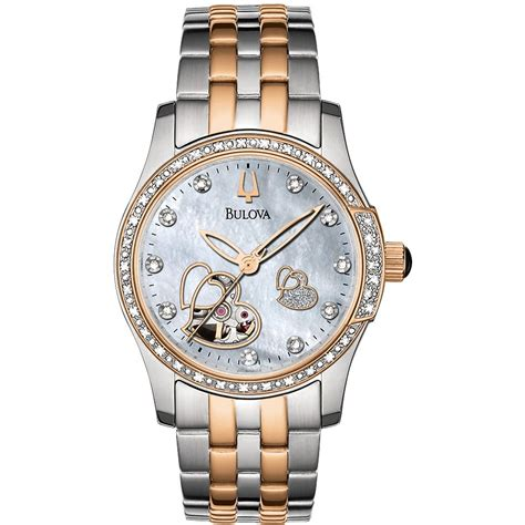 bulova 98r154 s diamonds analogue two tone stainless