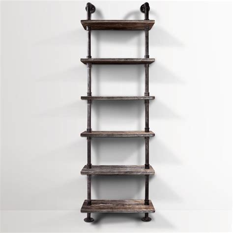 rustic industrial shelving rustic 6 level diy industrial pipe shelf storage vintage wooden metal bookshelf ebay