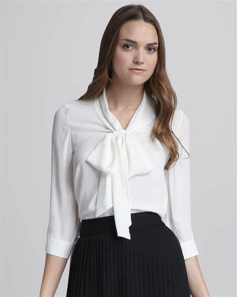 tie neck blouse in white lyst