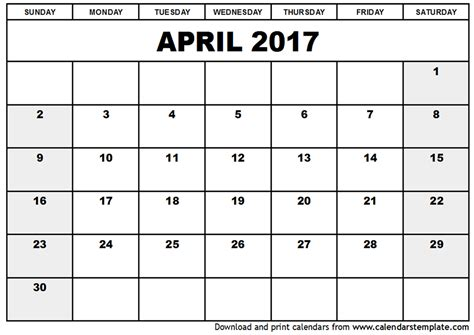 printable calendar april 2017 april 2017 calendar template