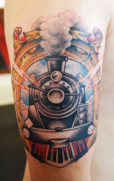 old school tattoo upper arm old school colored upper arm tattoo of ancient train