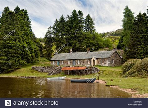 stone boat house remote loch ordie nr dunkeld scotland with old stone