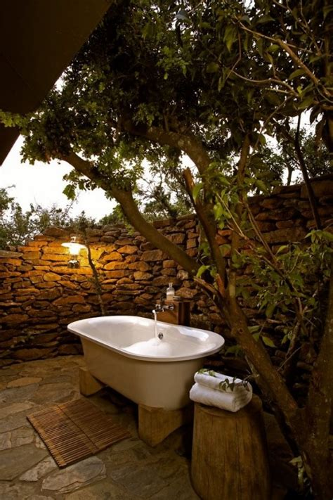 outdoor bathtub 30 outdoor bathroom designs home design garden