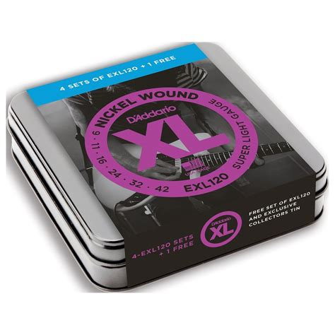 Daddario Exl120 Nickel Wound 09 42 d addario exl120 nickel wound 09 42 limited edition 5 pack tin