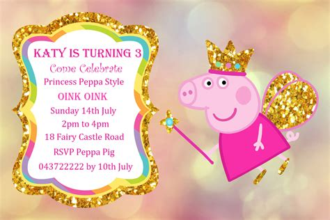 Design Your Own Castle peppa pig invitation personalized peppa pig printable