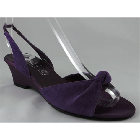 7234p purple suede open toe wedge sandal from