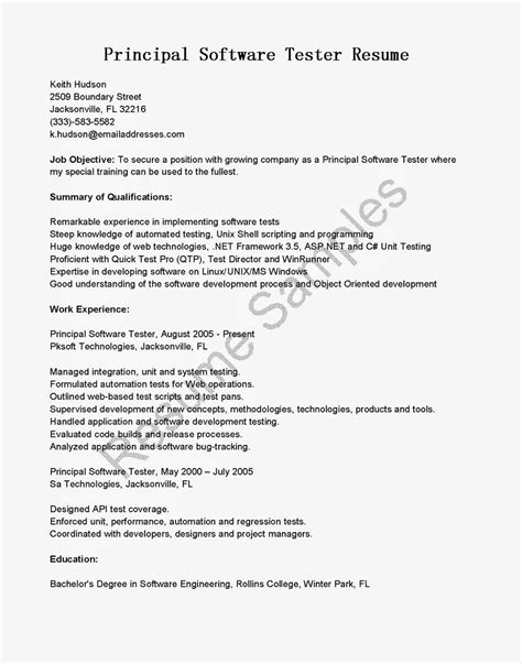 Web Tester Cover Letter by Resume Sles Principal Software Tester Resume Sle