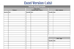 Excel Grocery List Template Grocery Shopping Template My Routine