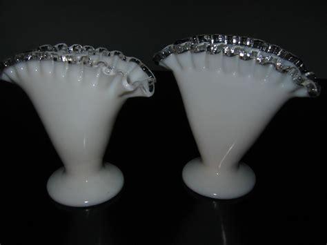 Milk Glass Vases For Sale by Fenton Milk Glass Silver Sheen Fan Vases For Sale