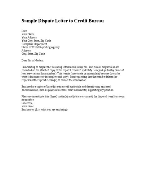 Sle Dispute Letter To Credit Bureau Docshare Tips Credit Agency Dispute Letter Template