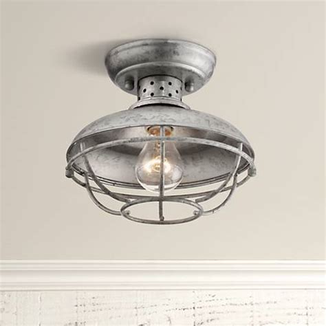 galvanized outdoor light fixtures franklin park 8 1 2 quot wide galvanized outdoor ceiling light
