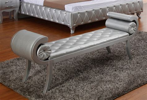 leather bench sofa silver color modern tufted leather bench for bedroom with floating laminate floor