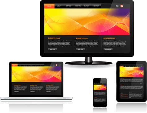 realistic devices responsive design template vector free