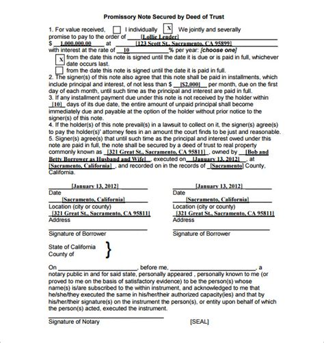 promissory note template california free free promissory note form