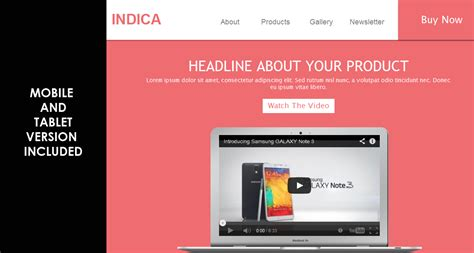 indica responsive landing page muse template muse