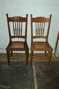 Antique Oak Dining Room Chairs 2 Antique Oak Pressed Back Seat Dining Room Side Chairs Ebay
