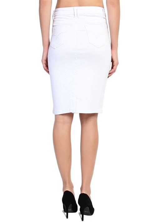 themogan 5 pocket white denim pencil skirt knee length