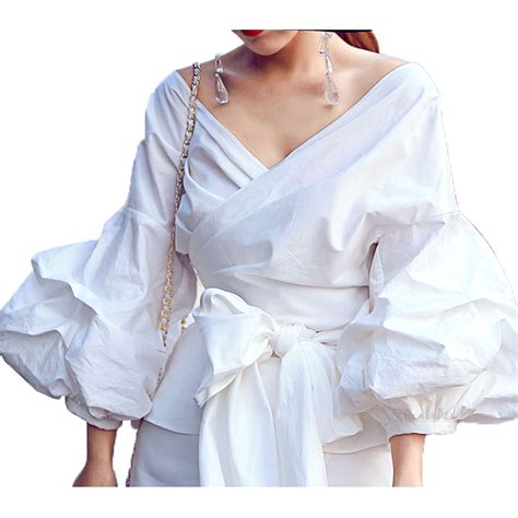 Blouse Murah High Quality high quality newest fashion 2017 designer blouse s lantern sleeve lacing belt bow casual