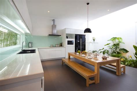 desain dapur semi outdoor urban vietnamese house garden kitchen dining and