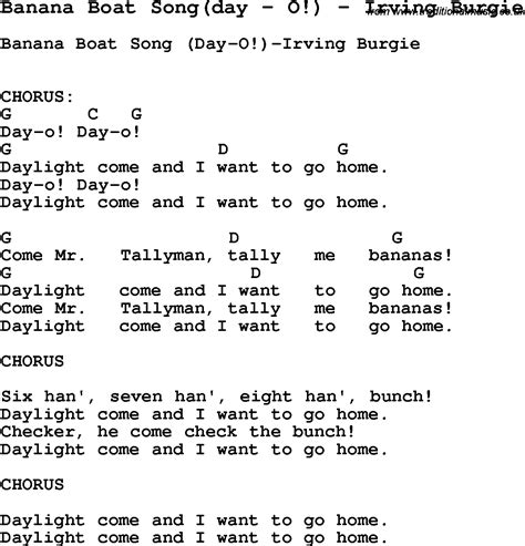 banana boat sunscreen theme song lyrics song banana boat song day by o by irving burgie song