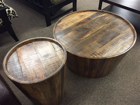 wood drum coffee table drum coffee end tables furniture mattress store