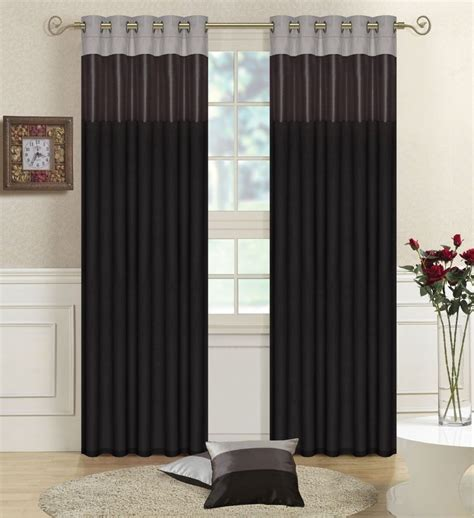 black silver curtains black grey silver 66 quot x 90 quot faux silk three tone eyelet