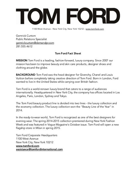 Pr Fact Sheet Template by Tom Ford Media Kit
